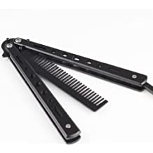 Metal Black Practice Knife Butter Fly Style Comb Cool Sports