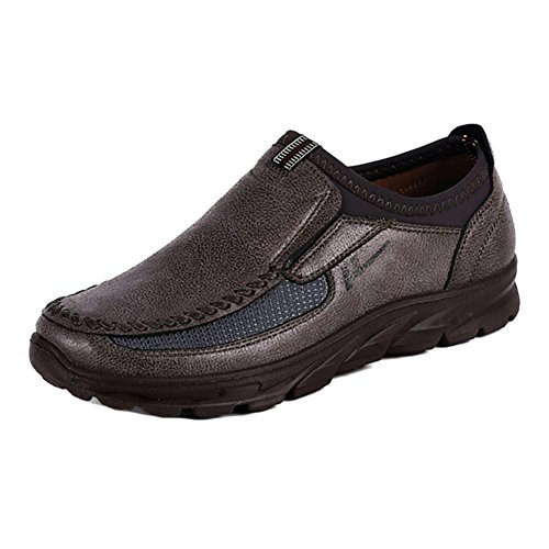 Hombres On Flats Business Walking Entrenadores Comfort Casual Mocasines Slip Breathable Leisure Shoes Cuero Gris Zapatos Dingcaiyi vdpU7qw6Yd