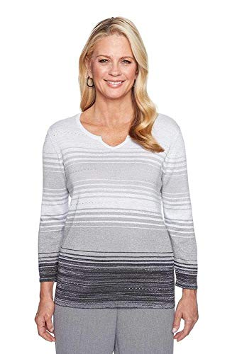 Alfred Dunner Women's Petite Ombre Stripe Sweater, Grey, PXL