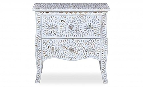 29.5'' X 29.5'' X 17.5'' Mother of Pearl Inlay Wooden Modern Antique Handmade Side Table
