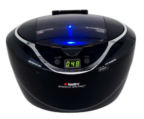 GemOro 1790 Sparkle Spa Pro 750ml Professional Ultrasonic Machine with 5 Cleaning Cycles and Black Digital Timer