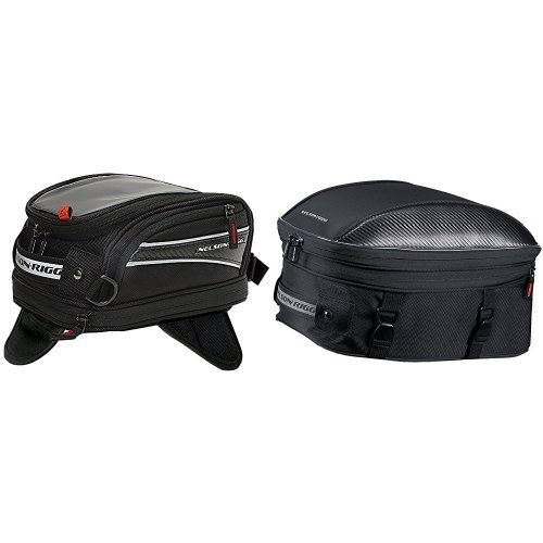 Nelson-Rigg CL-2014-MG Black Magnetic Mount Journey Mini Tank Bag and CL-1060-ST Black Sport Touring Tail/Seat Pack Bundle - Nelson Rigg Mini Sport Tail