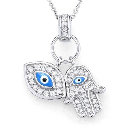 Hamsa Eye Pendant Evil - 925 Sterling Silver Womens Evil Eye Hamsa Blue White CZ Pendant Necklace