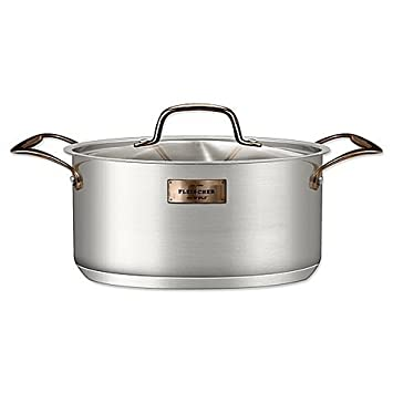 Fleischer Wolf London Series 5 QT Dutch Oven Lid – Copper Trim Satin Body