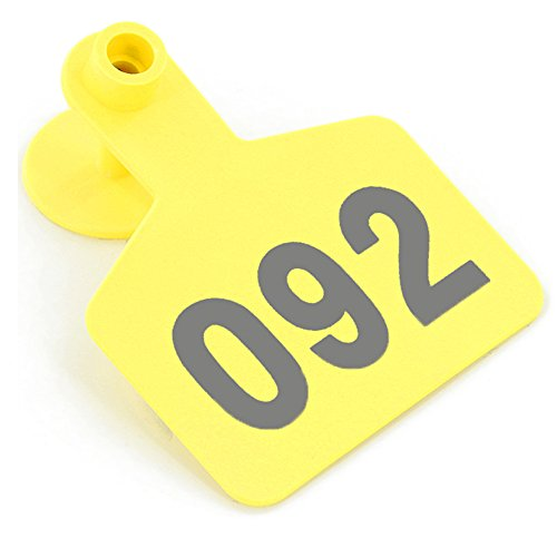 Cattle Ear Tags (1-100 Yellow Home Farm Animal Pet Cow Cattle Large Plastic Livestock Ear Tag Marked Identification)