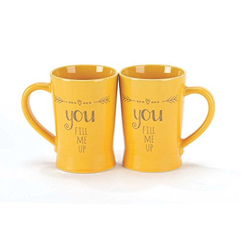 Mustard Yellow You Fill Me Up 8 Oz. Porcelain Speak Up Recordable Message Coffee Mug