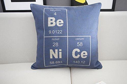HOMEE Minimalist Science Watch Home Sofa Cushion Cotton Linen Pillow Office Pillow Cushion Car) 3 Mathematical Formulas,2) Geochemical Element,45X45Cm