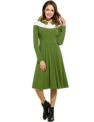 Angvns Femmes Manches Longues En Forme Et Flare Robe Swing Colorblock Pour Le Vert De L'armée De Bureau