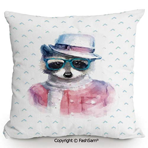 FashSam Home Super Soft Throw Pillow Retro Hipster Funky Raccoon with Sunglasses Hat Pullover Portrait Animal Humor Theme for Sofa Couch or Bed(20