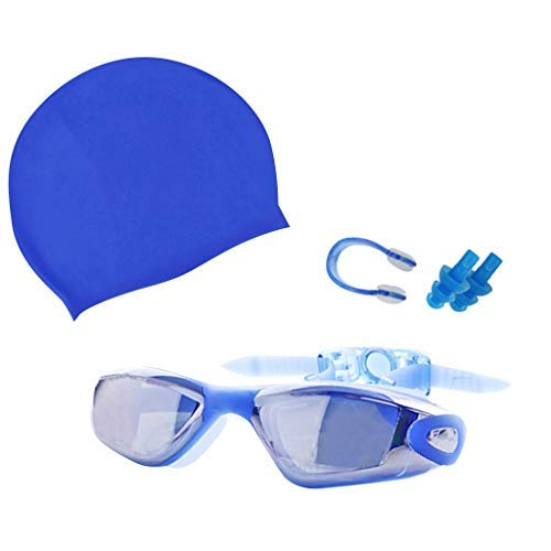 Alisy Swim Goggles, Swimming Glasses with Earplug, UV Protection Non-Fogging Swim Cap Nose Clip Goggles, for Adult, Youth Kids, Child, Men&Women (Blue) ()