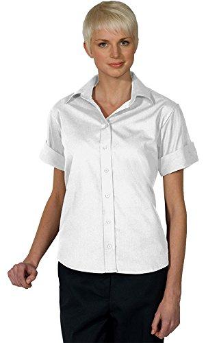 Edwards Women's Open Neck Poplin Short Sleeve Blouse, WHITE, Medium (Edwards Short Sleeve Blouse)