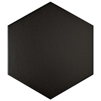"""SomerTile FCD10BTX Abrique Hex Porcelain Floor and Wall Tile, 8.625"""" x 9.875"""", Black"""