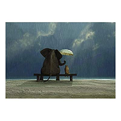 Made With Love, Gorgeous Piece, Elephant and Dog Caught in The rain on a Bench with an Umbrella Wall Mural