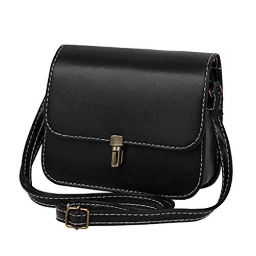 Mengonee cuadrado de las mujeres paquetes de señora decorativa bolsos de la PU de las mujeres bolsos de hombro bolsos femeninos pequeños Negro