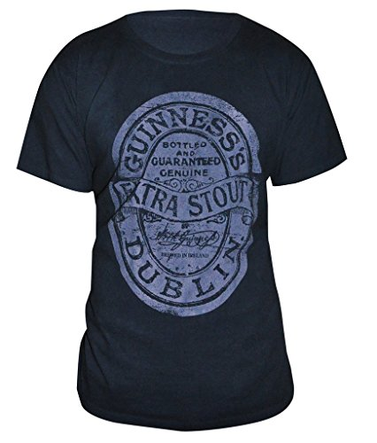 Guinness Extra Stout Label Vintage Black T-Shirt - Cotton Graphic Short Sleeve Tee -