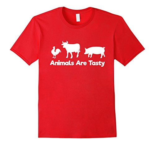 Mens Animals Are Tasty Cow Pig Chicken Meat Eating T-Shirt XL Red - Tasty Animals T-shirt