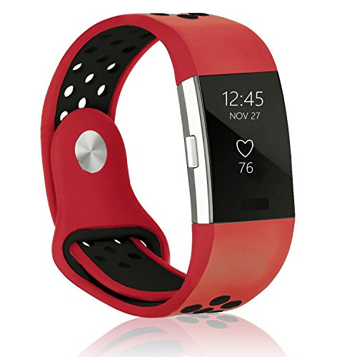 POY Replacement Bands Compatible for Fitbit Charge 2, Adjustable Breathable Wristbands with Air Holes Straps, Small Red Black 1PC