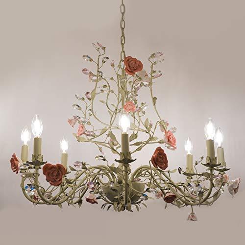 Goldenlipper 8-Lights Crystal Candles Ceramic Flower Style Chandelier, Modern Crystal Chandeliers,Chandelier Lighting Fixtures,Ceiling Light for Living Room Bedroom Hallway Restaurant