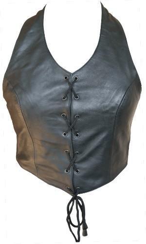 Ladies Lambskin Halter Vest / Top W/Laced Front