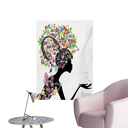 Anzhutwelve Zodiac Scorpio Painting Post Fashion Girl Silhouette with Colorful Blossoming Floral Dress and HairstyleMulticolor W20 xL28 Cool Poster ()