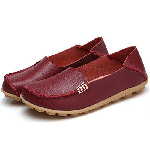 Temofon Damen Leder Loafers Walking Mokassin Driving Schuhe Slip-On Wohnungen Casual Hausschuhe Burgund