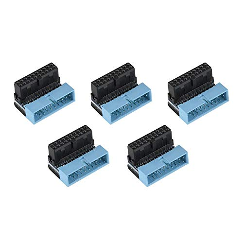 5PCS USB 3.0 19-Pin Motherboard Connector Internal Header, Male to Female Extension Adapter Down Angled 90 Degree for Motherboard Mainboard, Multi-Layer Circuit Board Connection. (Female Degree 90 Pins Header)