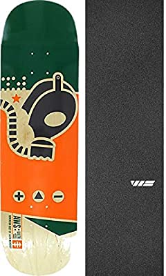 "Alien Workshop Gas Mask Large Skateboard Deck - 8.5"" x 32.25"" with Jessup WS Die-Cut Black Griptape - Bundle of 2 Items by Alien Workshop"