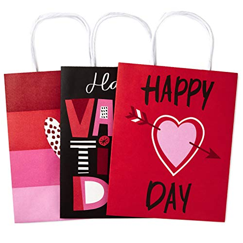 Hallmark Medium Valentines Day Paper Gift Bags Assortment, Valentines Hearts (Pack of -