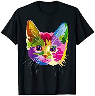Colorful Cat Head On Pop Art Style Tee T-shirt   Size S - 5XL