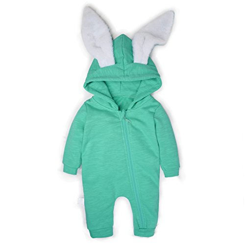 Minilove Baby Rabbit 3D Ear Hoodie Jumpsuit(90,Green(R))