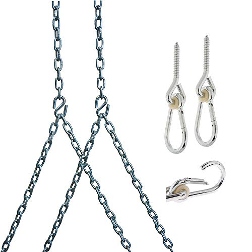 Barn-Shed-Play Heavy Duty 700 Lb Porch Swing Hanging Chain Kit - Color: Silver (10 Foot Ceiling)