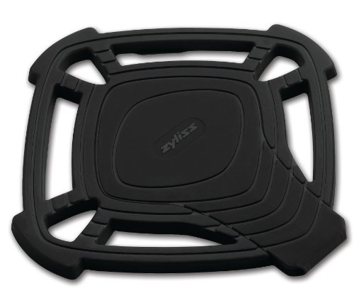 Zyliss Silicone Trivet Hot Pad with Built in Spoon Rest, Large, Black
