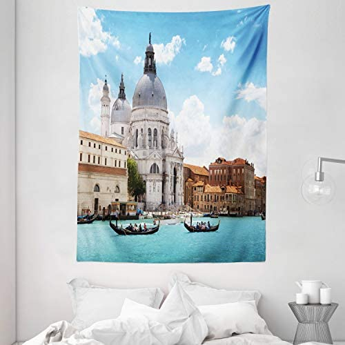 Ambesonne Venice Tapestry, Grand Canal and Italian Architecture City in Italy Photo Image Print, Wall Hanging for Bedroom Living Room Dorm, 60 X 80 , Coffee White