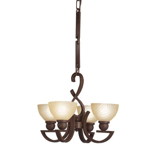 Kichler  2440TZ Contours 4-Light Chandelette, Tannery Bronze with Satin-Etched Sunset Glass