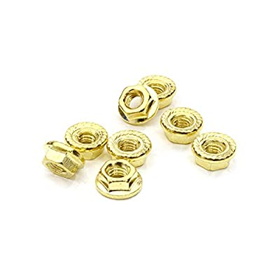 Integy RC Model Hop-ups C26778GOLD M4 Size Serrated 4mm Wheel Nut Flanged 8pcs for Most 1/10 Scale