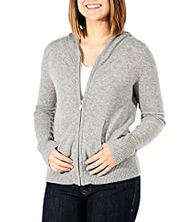 Gigi Reaume 100 Cashmere Zip Front Cardigan Hoodie Sweater Large Grey Heather