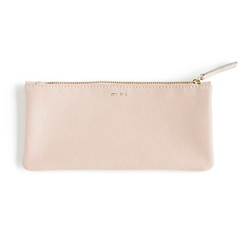 Minted Blush Leather Pencil Pouch by Minted