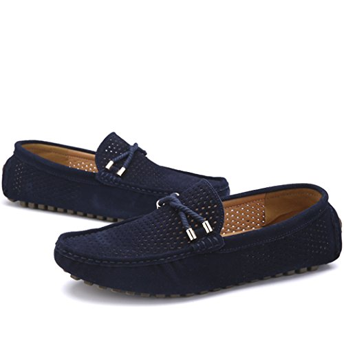 On Moccasins Suede Blue Driving Flat Slip Leather amp; Men's Loafers Yaer Boat 1 Shoes nxUgRqz