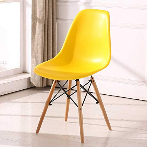 1e04a6b8b4885 Homy Grigio Dining Chairs DSW Chairs Mid Century Modern Style Chairs  Plastic Chairs Wood Assembled Legs, Set of 4 (Yellow)