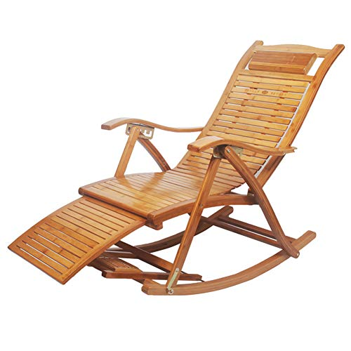 - ADAHX Adjustable Rocking Chair, Folding Natural Durable Bamboo Zero Gravity Chair Lounge Recliner for Porch Patio Living Room Porch with Support 330 LBS,C