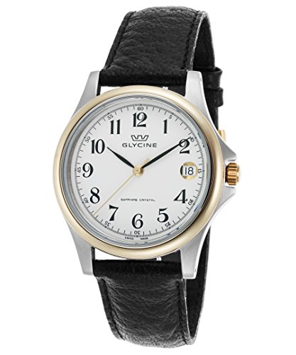 Glycine 3519-34-Lb9 Men s Black Genuine Leather White Dial Gold-Tone Bezel Watch