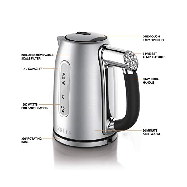 KRUPS BW710D51 Cool-touch Stainless Steel Electric Kettle with Adjustable Temperature, 1.7-Liter, Silver 2