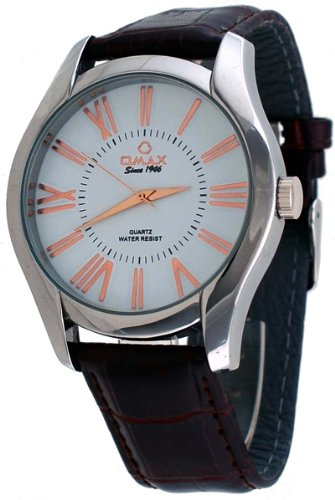 Omax #00OAS117IQ13 Men's Executive Casual Silver Tone Roman Dial Leather Band Watch