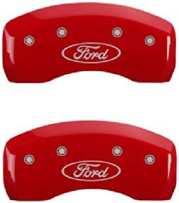 Set of 4 MGP Caliper Covers 10042SFRDRD Ford Oval Logo Type Caliper Cover with Red Powder Coat Finish and Silver Characters,