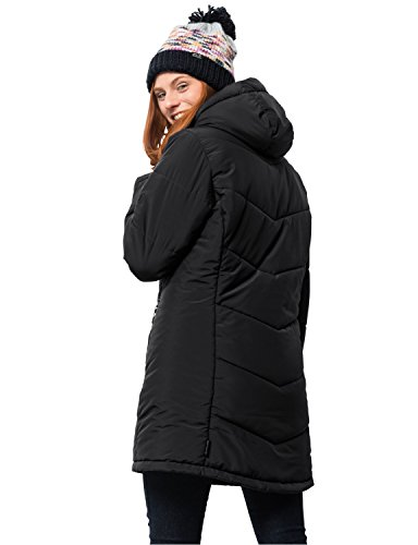 Long Insulated Jack Wolfskin Jacket Svalbard Black Women's PIPHwqB