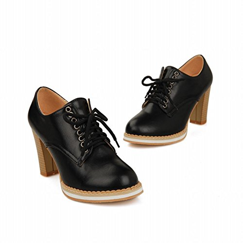 Latasa Mujeres Fashion Lace-up Chunky Zapatos De Tacón Alto Oxfords Negro
