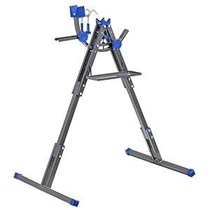 41 [pro.tec] Cavalletto portabici professionale per montaggio e manutenzione (grigio scuro - nero) Stand per riparazioni Apertura regolabile