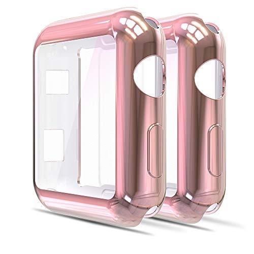 Funda protectora para Apple Watch 42mm Serie 2 y 3.Rosa(2un)