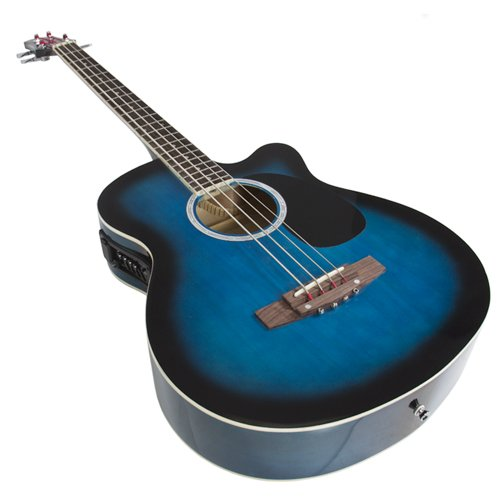 Electric Acoustic Bass Guitar Blue Solid Wood Construction With Equalizer - Image 1