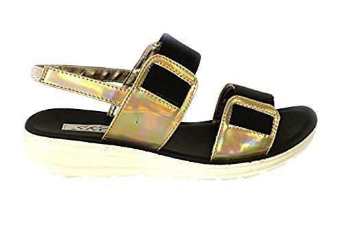 Gold Mules Vacances plates Toe Chunky chaussures Plage Sandales Femme d'été coulisses Natasha03 Peep 1Xq4dwP